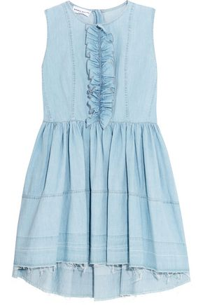 SONIA RYKIEL Ruffled denim mini dress