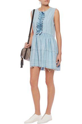 SONIA RYKIEL Ruffled denim mini dress