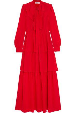 SONIA RYKIEL Tiered ruffled silk crepe de chine maxi dress