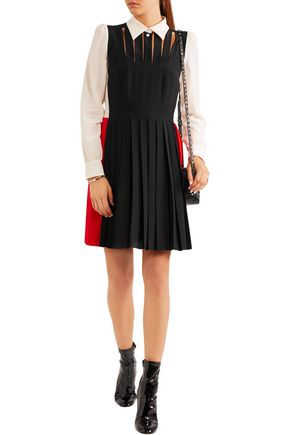 SONIA RYKIEL Pleated cutout silk crepe de chine dress