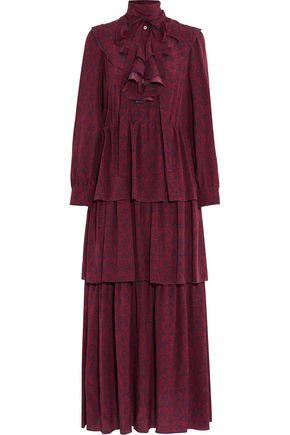 SONIA RYKIEL Tiered ruffled printed silk maxi dress