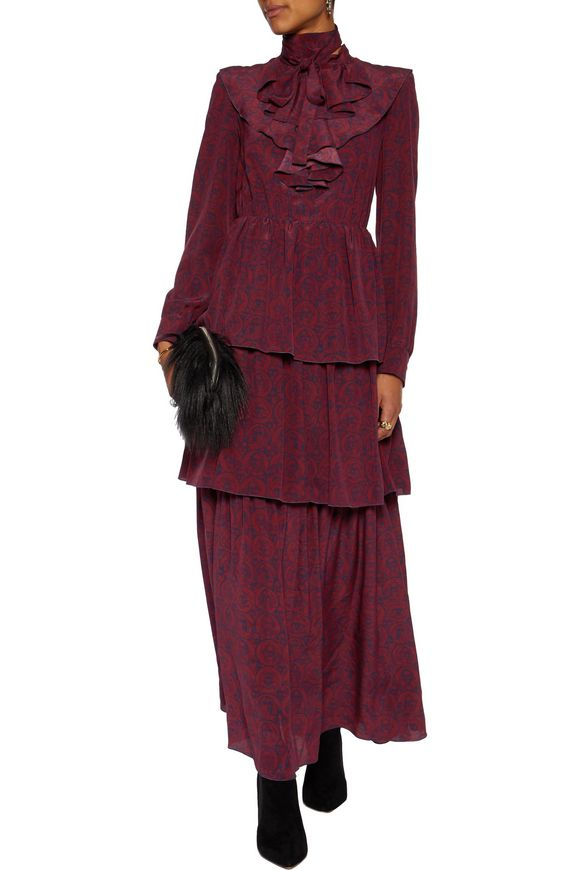 Tiered ruffled printed silk maxi dress | SONIA RYKIEL | Sale up to 70% off  | THE OUTNET