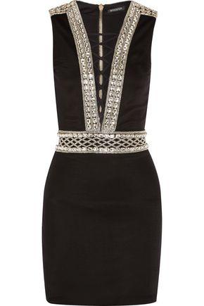 19f23bc84231 BALMAIN Lace-up embellished stretch-jersey mini dress ...
