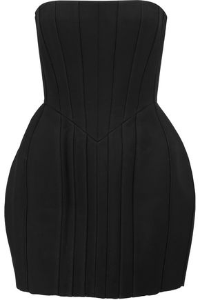 BALMAIN Strapless pintucked crepe mini dress