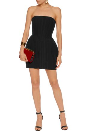 BALMAIN Strapless pintucked crepe mini dress