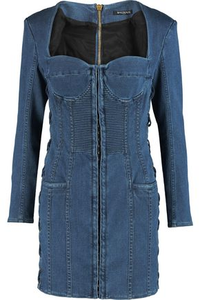 BALMAIN Lace-up denim mini dress