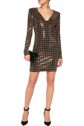 BALMAIN Studded stretch-knit mini dress