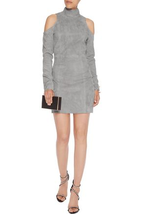 BALMAIN Cold-shoulder nubuck mini dress