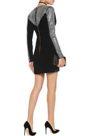 BALMAIN Crystal-embellished velvet mini dress