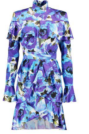 BALMAIN Ruffled printed satin mini dress