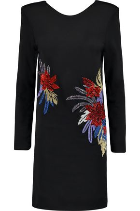 BALMAIN Bead-embellished jersey mini dress