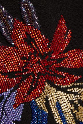 BALMAIN Bead-embellished jersey mini dress