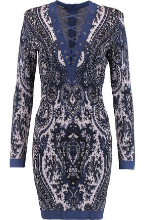 BALMAIN Lace-up intarsia-knit mini dress