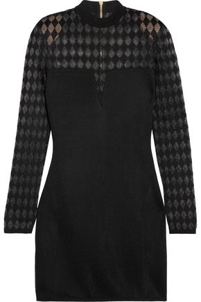 BALMAIN Paneled stretch-crepe mini dress