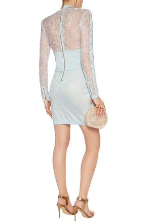 afe726cb1ccb ... BALMAIN Lace-up stretch-jersey paneled lace mini dress
