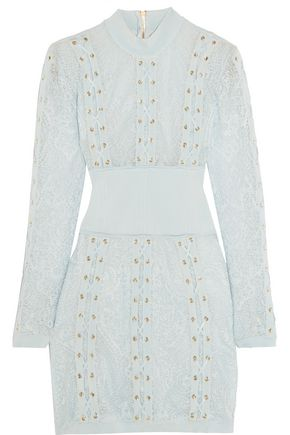 BALMAIN Lace-up stretch-jersey paneled lace mini dress