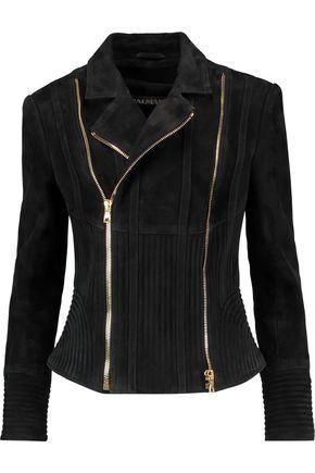 BALMAIN Quilted-paneled suede biker jacket