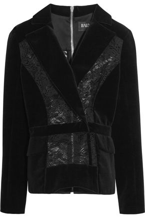 BALMAIN Lace-paneled velvet jacket