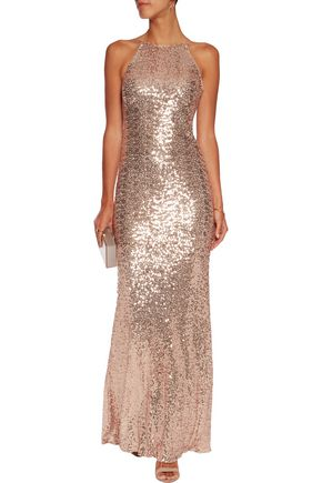 BADGLEY MISCHKA Draped sequined tulle gown