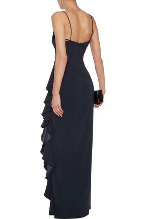 BADGLEY MISCHKA Silk satin-trimmed ruffled crepe gown