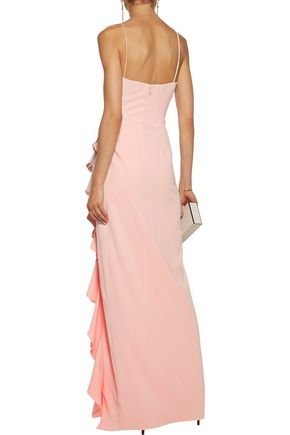 BADGLEY MISCHKA Silk satin-trimmed ruffled crepe gown