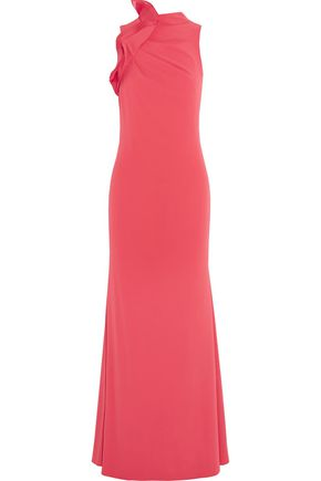 BADGLEY MISCHKA Ruffled cutout crepe gown