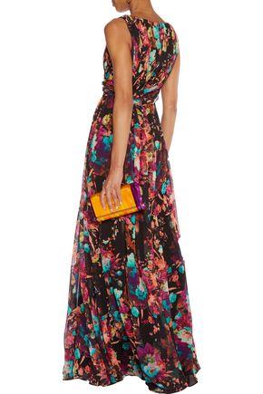 BADGLEY MISCHKA Pleated printed chiffon gown