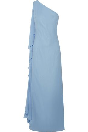 BADGLEY MISCHKA One-shoulder draped crepe de chine gown