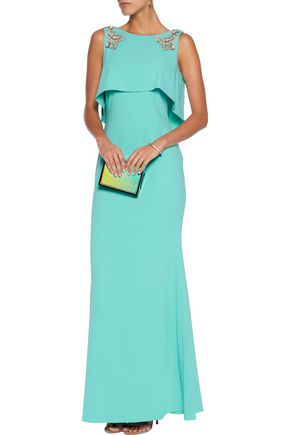 BADGLEY MISCHKA Embellished draped crepe gown