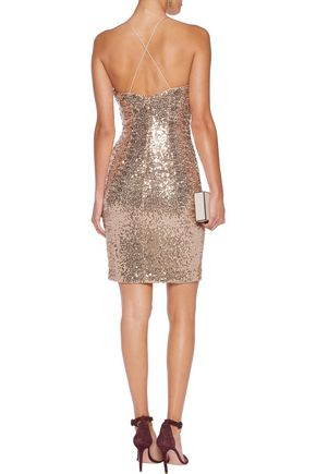 BADGLEY MISCHKA Draped sequined tulle dress