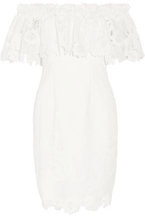 BADGLEY MISCHKA Off-the-shoulder layered guipure lace dress