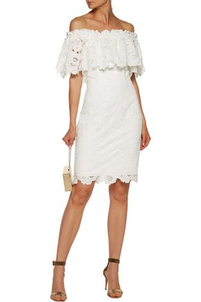 ... BADGLEY MISCHKA Off-the-shoulder guipure lace dress ...