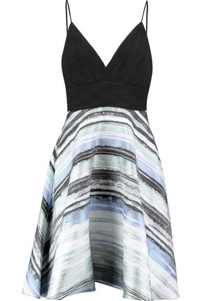 BADGLEY MISCHKA Printed jacquard and plissé-chiffon mini dress