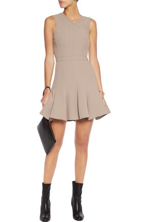 CARVEN Wrap-effect fluted crepe mini dress