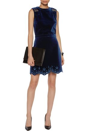 CARVEN Embroidered cotton-velvet mini dress