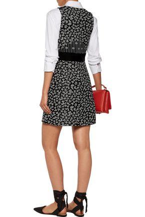 CARVEN Embellished printed crepe mini dress