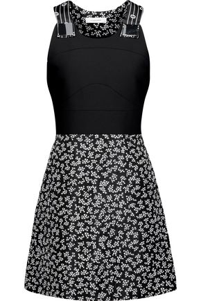 CARVEN Embellished printed crepe mini dress