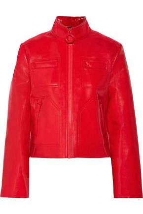 CARVEN Faux fur-lined glossed faux leather jacket