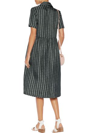 CARVEN Printed silk-twill midi dress