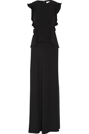 CARVEN Ruffled crepe gown