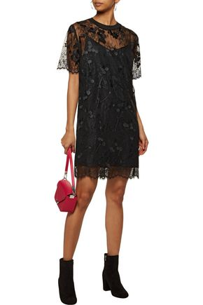 CARVEN Ribbed cotton-trimmed lace mini dress