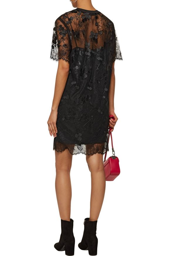 Ribbed cotton-trimmed lace mini dress   CARVEN   Sale up to 70% off   THE  OUTNET