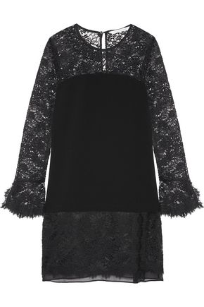 DIANE VON FURSTENBERG Silk chiffon-trimmed lace and crepe mini dress