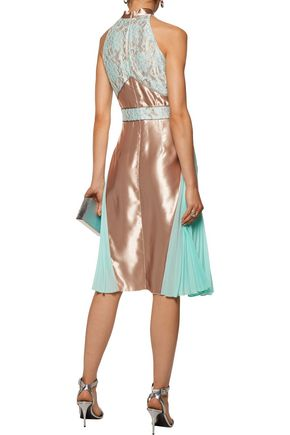 CHRISTOPHER KANE Corded lace and pleated chiffon-paneled satin dress