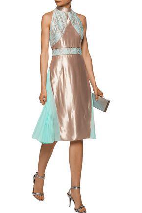 CHRISTOPHER KANE Corded lace and pleated chiffon-paneled satin dress