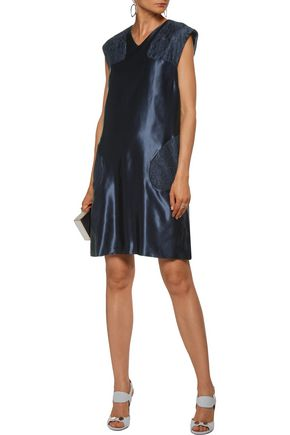 CHRISTOPHER KANE Corded lace-paneled satin mini dress