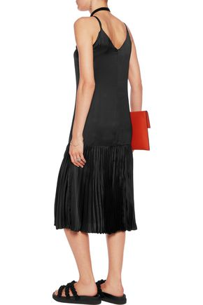 CHRISTOPHER KANE Plissé-satin and crepe de chine midi dress
