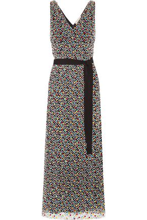 CHRISTOPHER KANE Belted flocked tulle maxi dress
