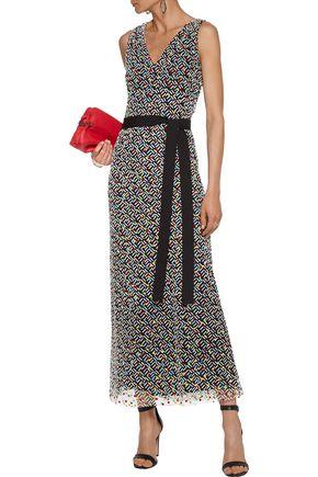 CHRISTOPHER KANE Belted flocked tulle maxi dress