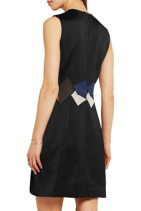 CHRISTOPHER KANE Embroidered lace-trimmed crepe mini dress